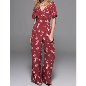 Band Of Gypsies Floral Wide Leg Jumpsuit Sz XS